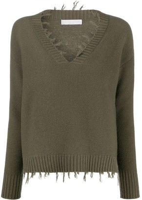Fabiana Filippi distressed V-neck jumper