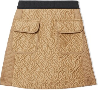 BURBERRY KIDS Monogram Quilted A-Line Skirt