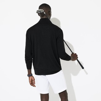 Lacoste Men's SPORT Solid Breathable Knit Zip Collar Golf Sweater
