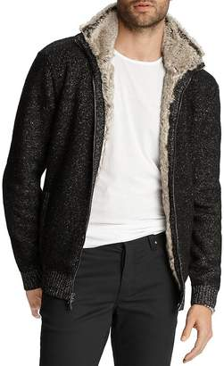 John Varvatos Collection Faux Fur-Trimmed Classic Fit Zip-Front Cardigan