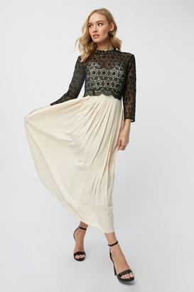Little Mistress Teigen Cream And Black Contrast Lace Midaxi Dress