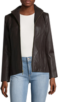 Cole Haan Lamb Leather Seamed Jacket
