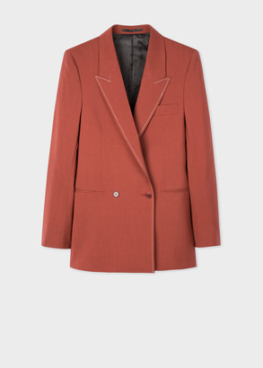 Paul Smith Women's Rust Wool-Mohair Relaxed Double-Breasted Blazer