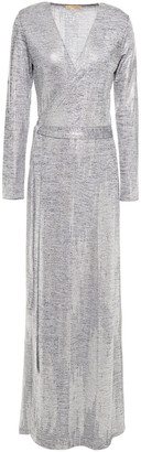 Melissa Odabash Metallic Leopard-print Stretch-jersey Maxi Wrap Dress