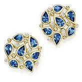 Temple St. Clair 18K Yellow Gold Pear Cluster Earrings with Sapphire and Diamonds