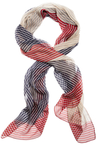 Brooks Brothers Silk Chiffon Rope String Oblong Scarf