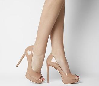 Office Honeyhoney Peep Toe Platform Court Heels Nude Patent Leather