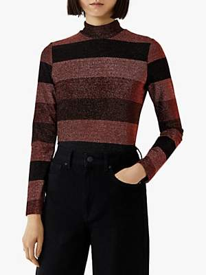 Warehouse Glitter Stripe Mesh Top, Multi