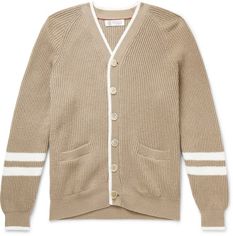 Brunello Cucinelli Contrast-Tipped Striped Ribbed Cotton Cardigan