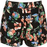 River Island Girls black floral double layer shorts