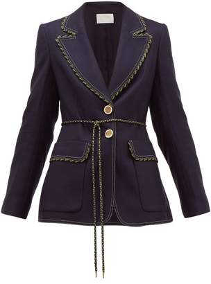 Peter Pilotto Single-breasted Braid-trimmed Tweed Jacket - Womens - Navy