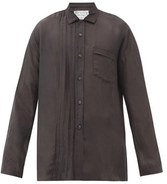 By Walid Tristan Pintuck-pleat Washed-silk Shirt - Black