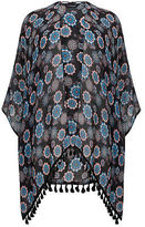 Yours Clothing YoursClothing Plus Size Womens Peach Mandala Print Lightweight Woven Wrap Black