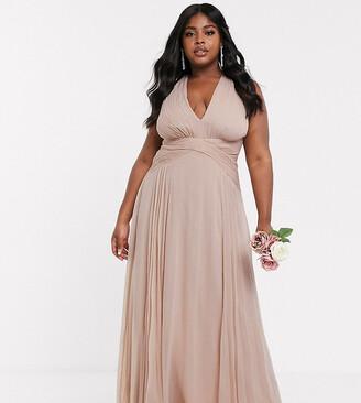Asos DESIGN Curve bridesmaid ruched bodice drape maxi dress with wrap waist-Pink