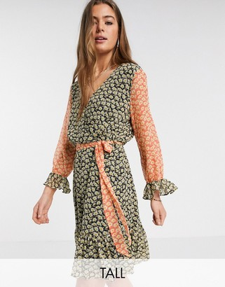 Y.A.S Tall Daisy 3/4 sleeve mixed ditsy floral dress
