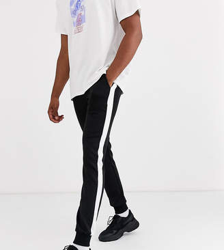Asos Design DESIGN Tall super skinny joggers in poly tricot with side stripe in black
