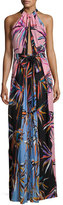Emilio Pucci Printed Silk Keyhole Halter Gown, Black/Pink/Blue