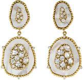 Judith Ripka 18K Colorless Sapphire, Mother of Pearl & Diamond Drop Earrings