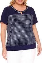 Alfred Dunner Seas The Day Short Sleeve Split Crew Neck T-Shirt-Plus