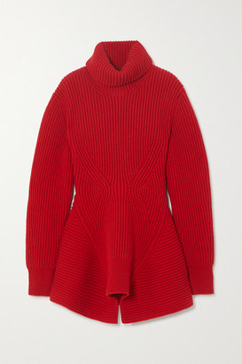 Alexander McQueen Ribbed Wool And Cashmere-blend Turtleneck Sweater - Red