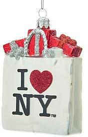 Kurt Adler I Love Ny Shopping Bag Glass Ornament