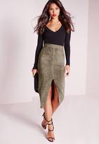 Missguided Split Front Longline Faux Suede Midi Skirt Khaki