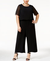 Alfani Plus Size Illusion Overlay Jumpsuit , Only at Macy's