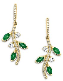 Bloomingdale's Emerald & Diamond Vine Drop Earrings in 14K Yellow Gold - 100% Exclusive
