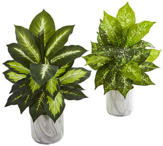 Nearly Natural Dieffenbachia Artificial Plant in Marble Finish Planter, Set of 2