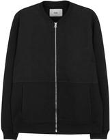 Folk Black Contrast-front Jersey Bomber Jacket