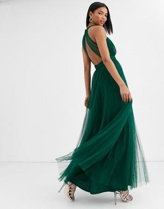 Asos Design DESIGN halter cross over front tulle maxi dress-Multi