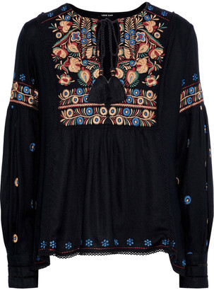 Love Sam Crochet-trimmed Embroidered Washed-crepe Blouse