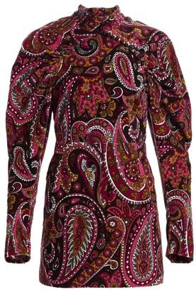 Rotate by Birger Christensen High-Neck Paisley Puff-Sleeve Velvet Mini Dress