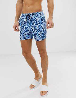 South Beach Recycled swim shorts in WATERCOLOR leopard print-Blue