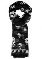 Alexander Mcqueen Monochrome Skull-print Silk Scarf