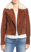 Andrew Marc Suede Jacket with Genuine Shearling Collar