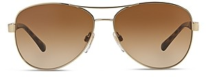 Burberry Men's Honey Check Aviator Sunglasses, 59mm