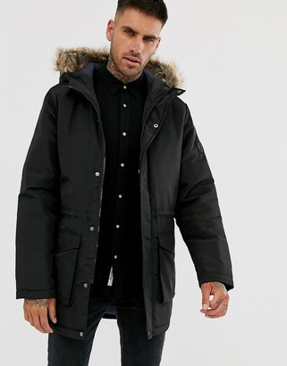 ONLY & SONS parka with faux fur hood-Black