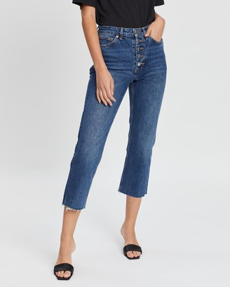 Topshop Button Fly Straight Jeans