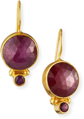 Dina Mackney Ruby Garnet Circle Drop Earrings