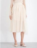 Simone Rocha Bead-embellished tulle midi skirt