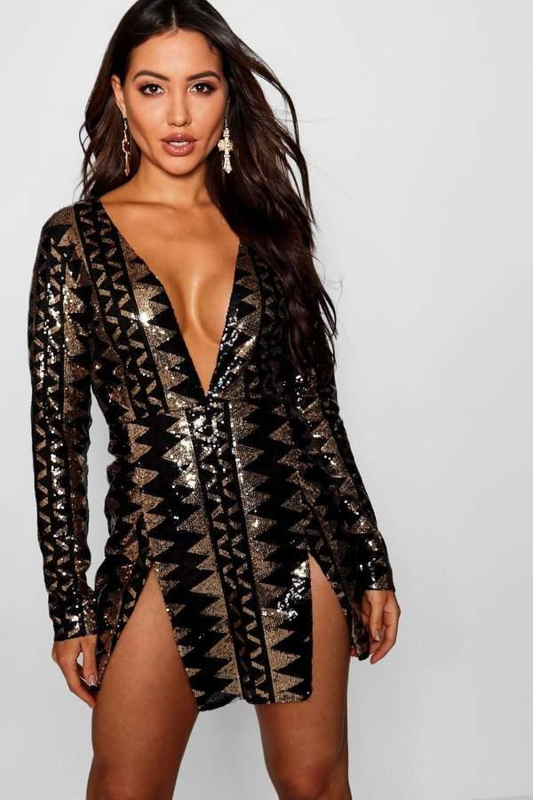 boohoo Sequin Aztec Split Detail Bodycon Dress