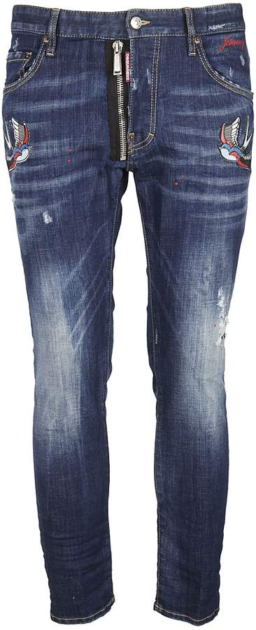 DSQUARED2 Distressed Bird Patch Jeans