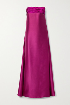 Reem Acra Strapless Pleated Satin-pique Gown - Fuchsia
