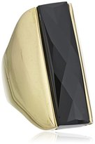 Wouters & Hendrix Women's Yellow Gold Plated 925 Sterling Silver Onyx Ring - Size - - L