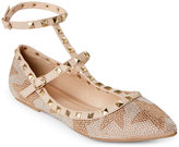 Wild Diva Natural Pippa Embellished Pointed Toe T-Strap Flats