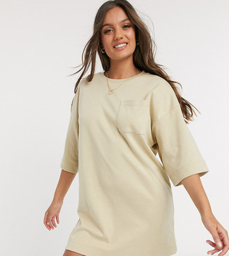 ASOS DESIGN Petite oversized winter weight T-Shirt Dress with pocket in oatmeal