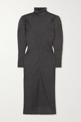Isabel Marant Genia Paneled Melange Wool Turtleneck Midi Dress