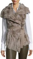 Alberto Makali Rabbit Fur-Front Knit Vest, Taupe