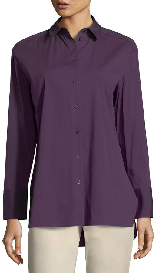 Lafayette 148 New York Dannell Button-Front Stretch-Cotton Blouse